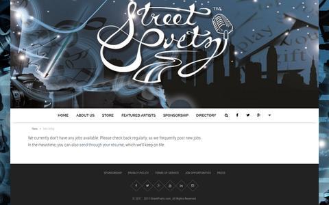 Screenshot of Jobs Page streetpoetz.com - Jobs Listing - - captured Aug. 15, 2015