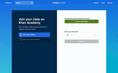 Screenshot of Signup Page khanacademy.org - Join | Khan Academy - captured Oct. 5, 2017