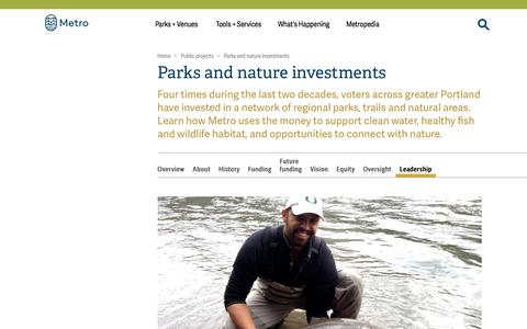 Screenshot of Team Page oregonmetro.gov - Parks and nature investments | Metro - captured Sept. 22, 2018