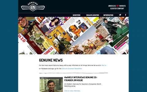 Screenshot of Press Page genuinescooters.com - Scooter News | Genuine Scooters - captured Oct. 30, 2014