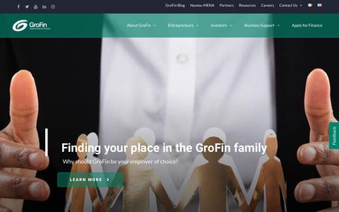 Screenshot of Jobs Page grofin.com - Careers at GroFin - A Vibrant Culture and Growing Team - captured July 25, 2018