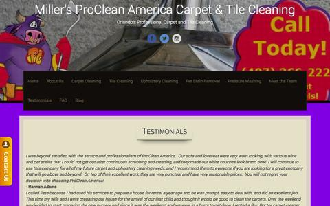 Screenshot of Testimonials Page procleanamericaorlando.com - Testimonials | Miller's ProClean America Carpet & Tile Cleaning - captured Oct. 27, 2014