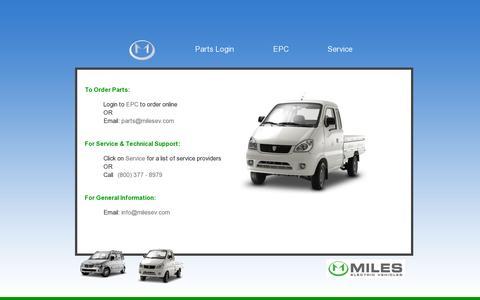 Screenshot of Home Page milesev.com - Plug into Miles Electric Vehicles, Miles Electric Vehicles - captured July 12, 2014