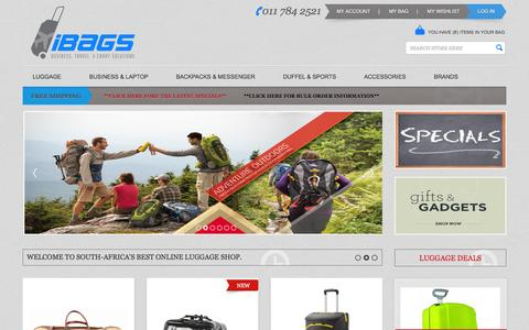 Screenshot of Home Page ibags.co.za - iBags Luggage | South Africa's best online bags and luggage shop.  | South Africa - captured Sept. 24, 2014