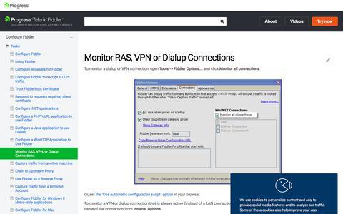 Monitor RAS, VPN, or Dialup Connections | Progress Telerik Fiddler Documentation