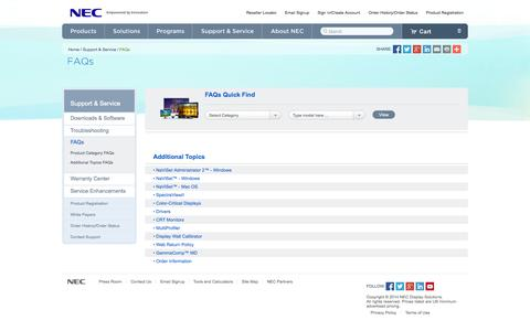 Screenshot of FAQ Page necdisplay.com - FAQs | NEC Display Support and Services - captured Oct. 26, 2014