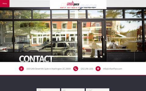 Screenshot of Contact Page urbanpace.com - Contact - Urban Pace | DC Real Estate Marketing - captured Jan. 10, 2016
