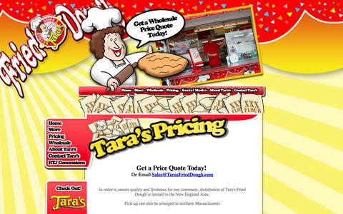 Screenshot of Pricing Page tarasfrieddough.com - Where Can I Buy Fried Dough? - captured Oct. 7, 2014