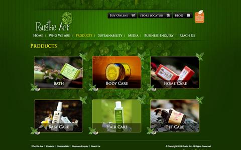 Screenshot of Products Page rusticart.in - Rustic Art Organic Products - captured Sept. 30, 2014