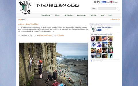Screenshot of Blog alpineclubofcanada.ca - Alpine Club of Canada  » Blog - captured Sept. 23, 2014