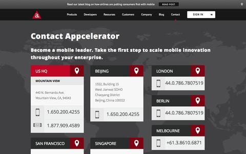 Screenshot of Contact Page appcelerator.com - Contact Us | Appcelerator Inc. - captured Oct. 10, 2014