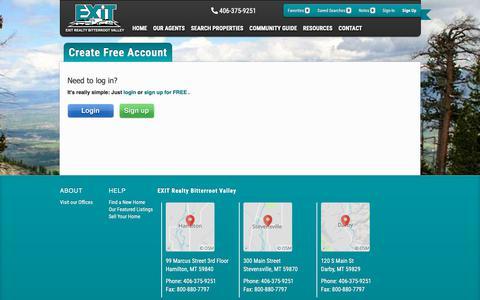 Screenshot of Signup Page Login Page exitmt.com captured Dec. 16, 2018