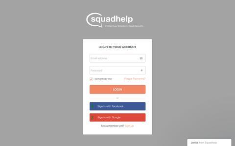 Screenshot of Login Page squadhelp.com - Business Name Ideas| Naming & Logo Contests| Brand Name Ideas - captured Sept. 9, 2016
