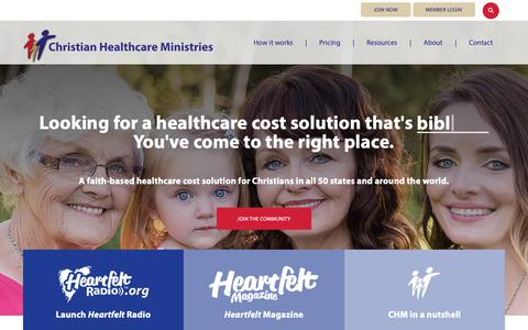 Screenshot of Home Page chministries.org - Christian Healthcare Ministries | Healthcare cost sharing ministry - captured May 15, 2019