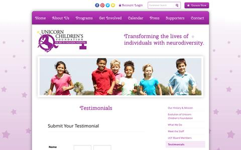 Screenshot of Testimonials Page unicornchildrensfoundation.org - Testimonials - captured Dec. 8, 2016