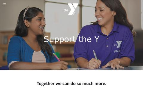 Screenshot of Support Page muskegonymca.org - Support the Y — Muskegon YMCA - captured April 9, 2016