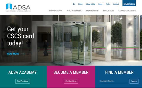 Screenshot of Home Page adsa.org.uk - ADSA | Automatic Door Suppliers Association - captured Oct. 4, 2018