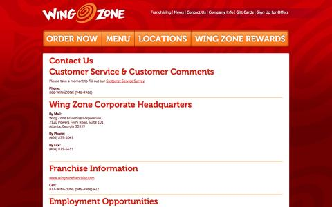 Screenshot of Contact Page wingzone.com - Contact Us | Wing Zone | We Deliver Amazing Flavor - captured Oct. 26, 2014