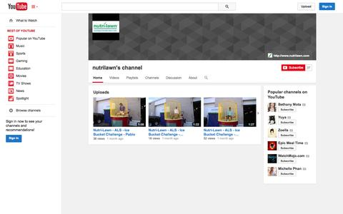 Screenshot of YouTube Page youtube.com - nutrilawn's channel  - YouTube - captured Oct. 26, 2014