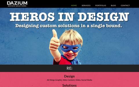 Screenshot of Home Page dazium.com - Dazium Design Solutions - captured Sept. 30, 2014