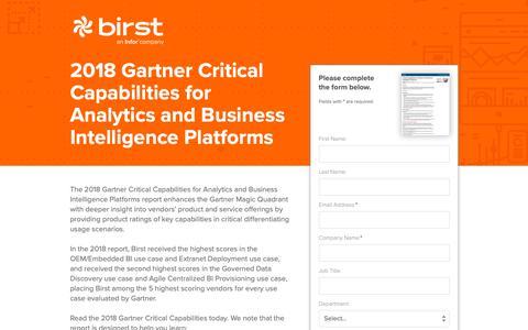 Screenshot of Landing Page infor.com - 2018 Gartner Critical Capabilities for Analytics and Business Intelligence Platforms - captured Dec. 10, 2018