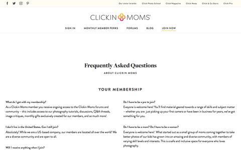 Screenshot of FAQ Page clickinmoms.com - Clickin Moms FAQ - Clickin Moms - captured Aug. 14, 2019