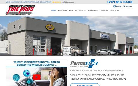 Screenshot of Home Page zimmermansauto.com - Mechanicsburg Auto Repair and Dealership - Zimmerman's Automotive Tire Pros - captured Sept. 9, 2019