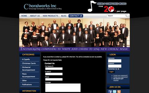 Screenshot of Contact Page choralworksinc.com - Contact Us - main - Choral Works Inc - captured Oct. 2, 2014