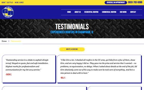 Screenshot of Testimonials Page gireroofing.com - Client Reviews | Gire Roofing - captured May 17, 2017
