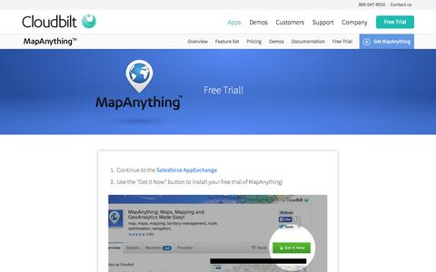 Screenshot of Trial Page cloudbilt.com - MapAnything Free Trial - Cloudbilt - captured Sept. 13, 2014