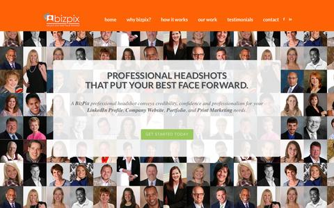 Screenshot of Home Page Contact Page Testimonials Page mybizpix.com - BIZ PIX! Professional Headshots That Put Your Best Face Forward! - captured Oct. 5, 2014