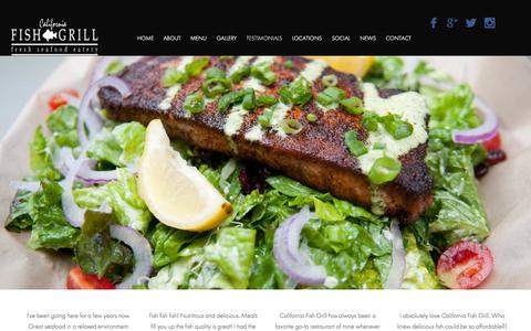 Screenshot of Testimonials Page cafishgrill.com - Testimonials - California Fish Grill - captured Sept. 28, 2015