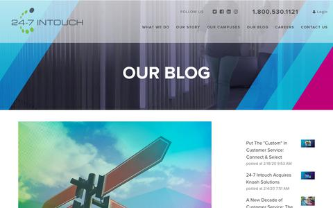 Screenshot of Blog 24-7intouch.com - Key Areas for Evaluating Contact Centers - captured Feb. 20, 2020