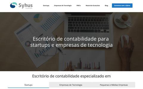 Screenshot of Home Page syhus.com.br - Escritório de Contabilidade para Startups e Empresas de Tecnologia - Syhus - captured Nov. 22, 2018