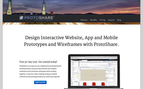 Screenshot of Home Page protoshare.com - Mockups & Website Wireframes | ProtoShare - captured Jan. 15, 2015
