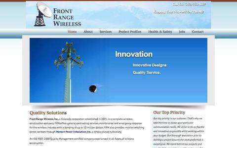 Screenshot of Home Page frontrangewireless.com - Front Range Wireless, a completely wireless construction company Front Range Wireless - captured Sept. 30, 2014
