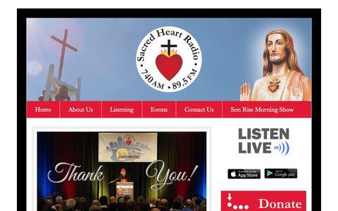Screenshot of Home Page sacredheartradio.com - Sacred Heart Radio – Cincinnati's Catholic Radio Station - captured June 8, 2016