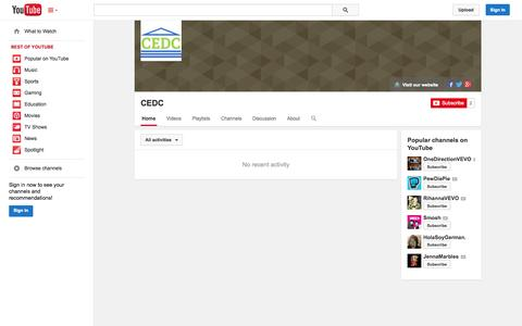 Screenshot of YouTube Page youtube.com - CEDC  - YouTube - captured Oct. 22, 2014