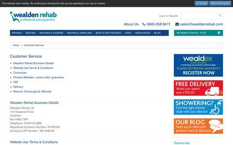 Screenshot of Support Page wealdenrehab.com - Customer Service | Wealden Rehab - captured June 17, 2017