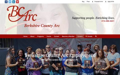 Screenshot of Jobs Page bcarc.org - BCArc - Careers - - captured Oct. 10, 2017