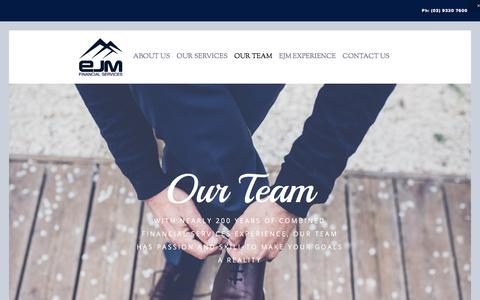 Screenshot of Team Page ejm.com.au - Our Team — EJM Financial Services - captured July 10, 2017