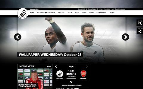 Screenshot of Home Page swanseacity.net - Official Website of the Swans - Swansea City AFC latest news, photos and videos - captured Oct. 29, 2015