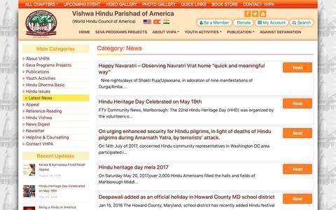 Screenshot of Press Page vhp-america.org - News Archives - Vishwa Hindu Parishad of America - captured Nov. 22, 2018