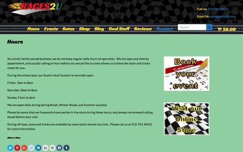 Screenshot of Hours Page races2u.com - Hours | Slot Car Racing for Parties | Team Building | Trade Shows - captured Aug. 17, 2016