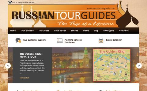 Screenshot of Home Page Privacy Page russiantourguide.com - Russian Tour Guides | St. Petersburg and Moscow Tours | Russia Tours - Travel to Russia with Russian Tour Guides! Our private tour guides will show you the beauty that Moscow and St. Petersburg, Russia have in store. - captured Oct. 7, 2014