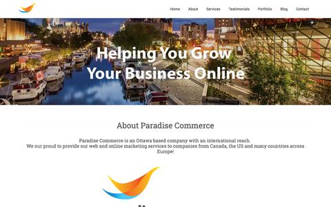 Screenshot of Home Page About Page Contact Page Services Page Testimonials Page paradisecommerce.com - Paradise Commerce is Global E-commerce & Internet Marketing Agency - captured Sept. 27, 2014