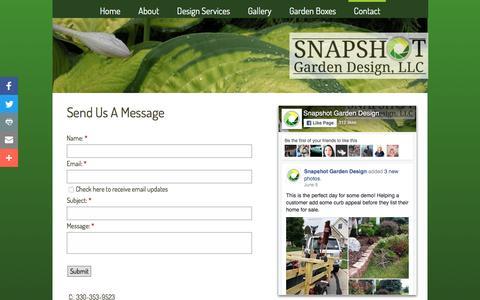 Screenshot of Contact Page snapshotgardendesign.com - Contact | Snapshot Garden Design | Landscape | Gardening | Indianapolis | Avon | Plainfield | Canton | Akron - captured Aug. 14, 2016
