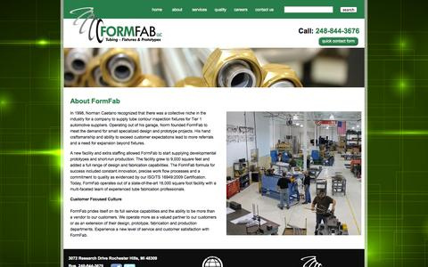 Screenshot of About Page formfabllc.com - FORM FAB LLC | Tubing - Fixtures & Prototypes - captured Sept. 30, 2014