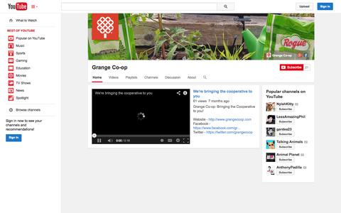 Screenshot of YouTube Page youtube.com - Grange Co-op  - YouTube - captured Oct. 23, 2014