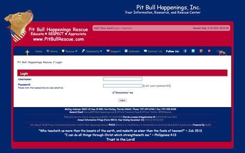 Screenshot of Login Page pitbullhappenings.com - Pit Bull Happenings Rescue - Login - captured Nov. 2, 2014